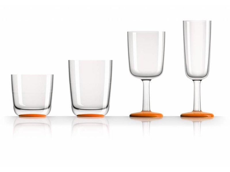 SET van alle 4 modellen onbreekbare Marc Newson glazen Tritan - Met antislip voet in kleur Licht Blauw OF Oranje