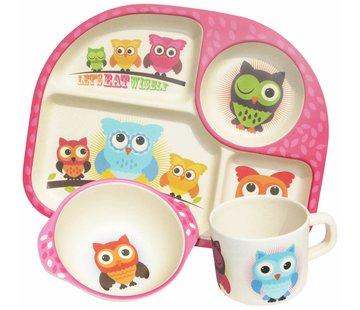 Ecoffee Cup Complete BamBoo Kinder Eet Set - Uilen
