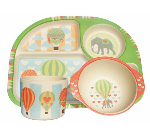 Ecoffee Cup Complete BamBoo Kinder Eet Set - Luchtballonen