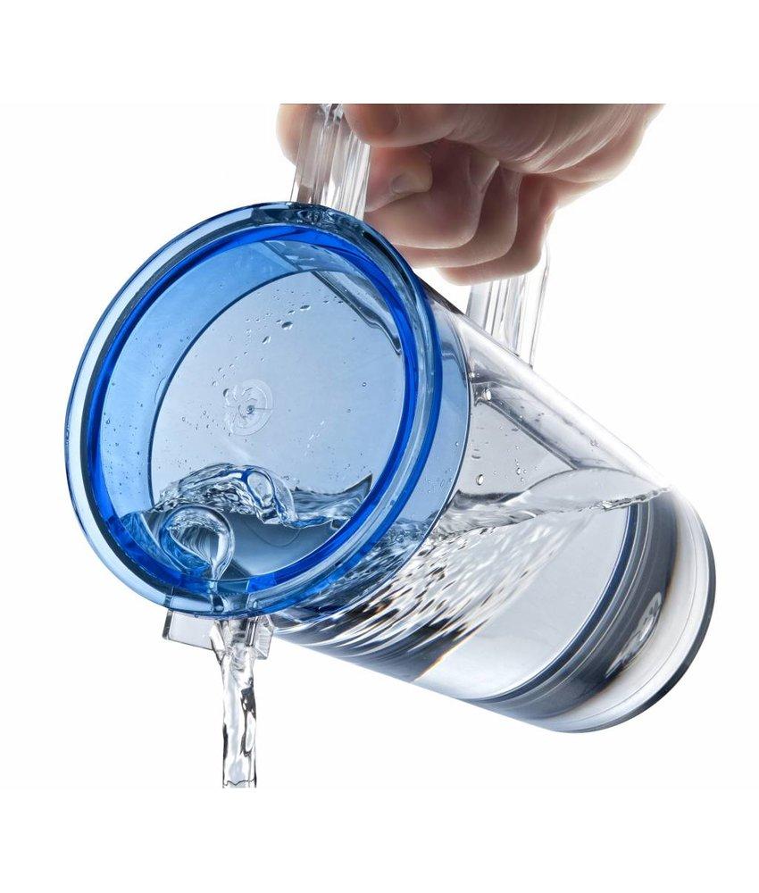Palm Products Waterkan / Schenkkan met deksel  ( Tritan ) 1.3 ltr.  onbreekbaar vaatwasbestendig - Zwart  deksel