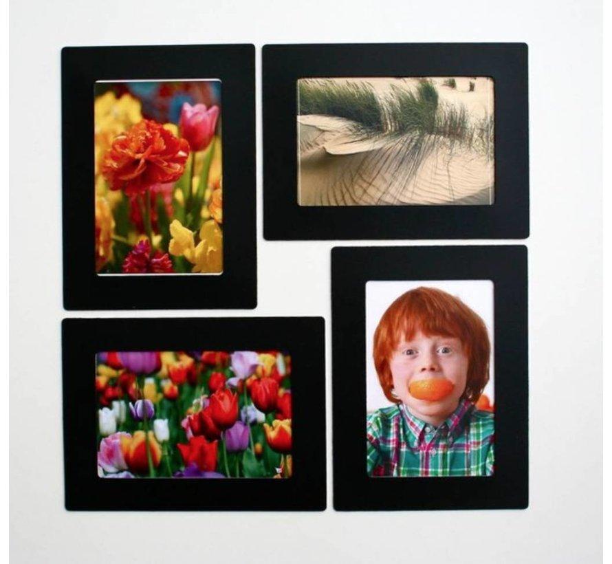 Her-Plakbare Fotolijstjes  Zwart [2 Stuks] + 2 bonus midilijstjes