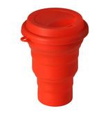 Opvouwbare Drinkbeker Siliconen 350 ml met drinkdeksel Oranje/Rood