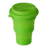 Opvouwbare Drinkbeker Siliconen 350 ml met drinkdeksel  Fris Groen