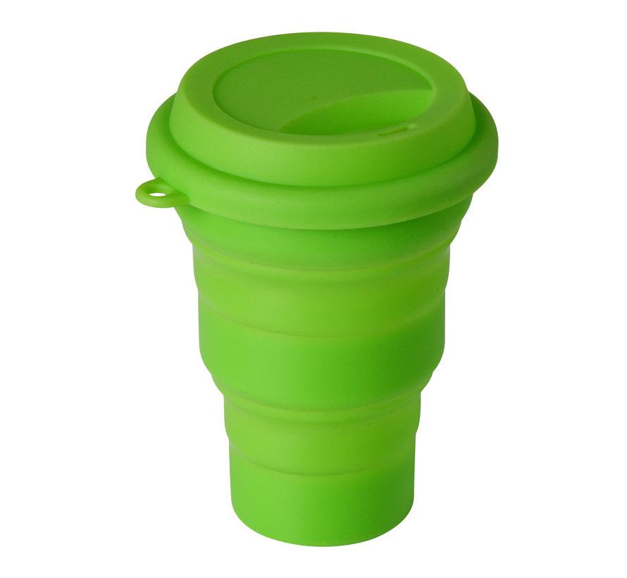 Opvouwbare Drinkbeker Siliconen met drinkdeksel Groen [350ml]