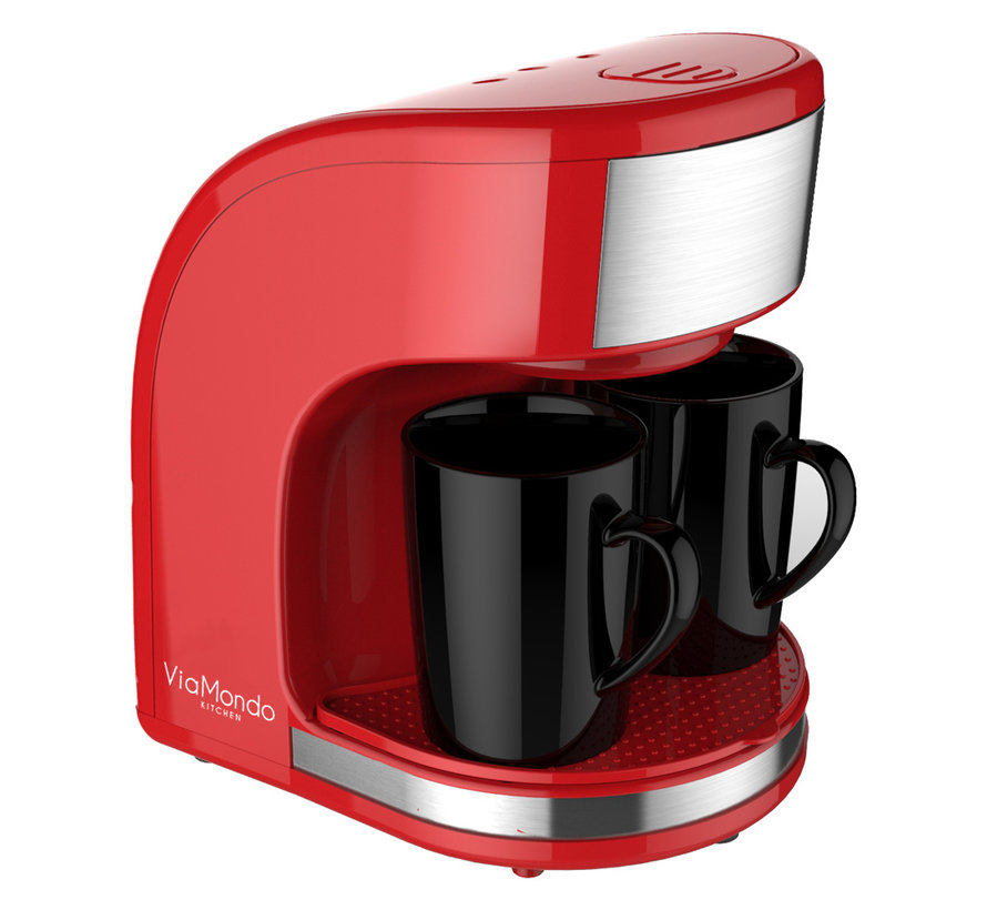 Via Mondo koffiezetapparaat Vrolijk Rood [2 Kops] - 230V | 450