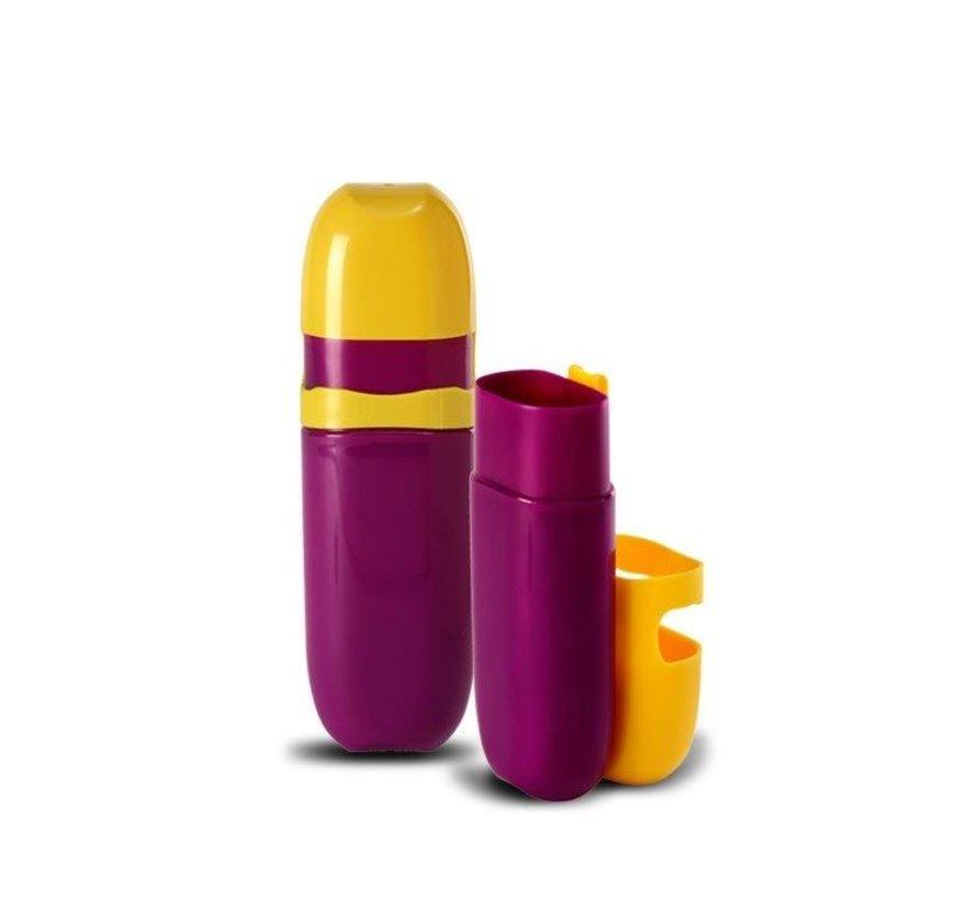 Kleur Pennen Koker  - Kleur Geel / Paars  - 1 + 1 GRATIS