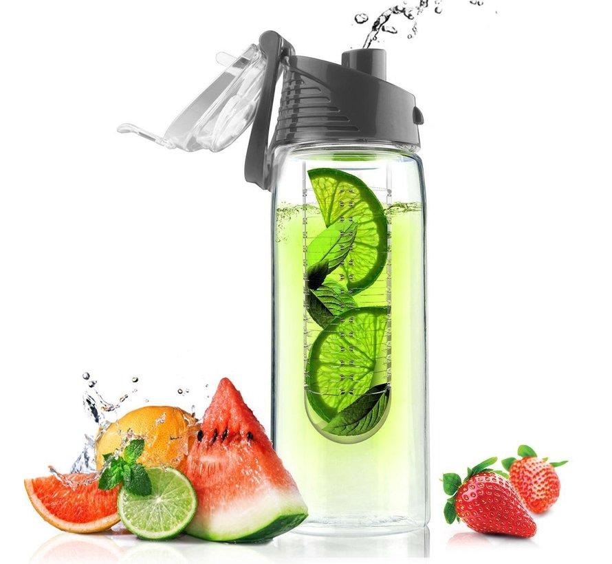 Grijze Asobu Waterfles Flavour It 2 Go - 600 ml
