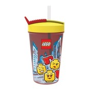 LEGO Rode LEGO Drinkfles Met Rietje Iconic Girl