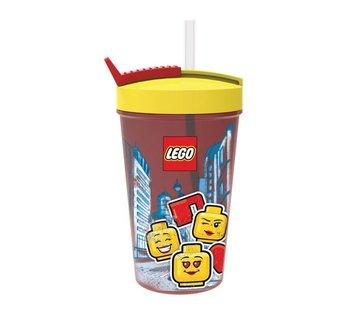 LEGO Rode LEGO Drinkfles Met Rietje Iconic Girl