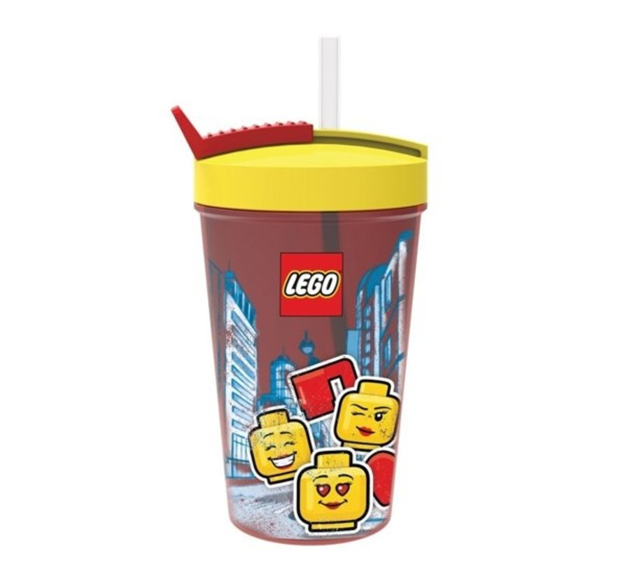 Rode LEGO Drinkfles Met Rietje Iconic Girl - 500 ml