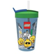 LEGO Blauwe LEGO Drinkfles Met Rietje Iconic Boy