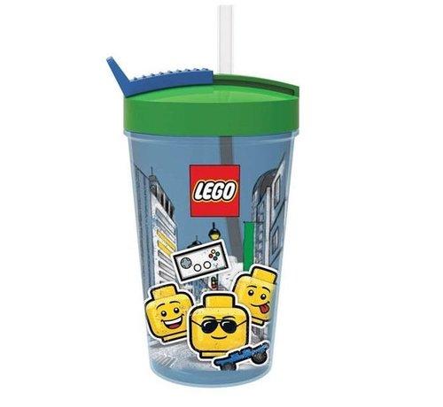 LEGO Rode LEGO Drinkfles Met Rietje Iconic Boy - 500 ml