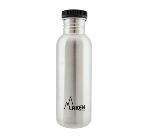 Laken RVS fles 0.75 L Basic Steel Bottle - Zwarte lekdichte schroefdop - Merk: Laken ( Spanje )