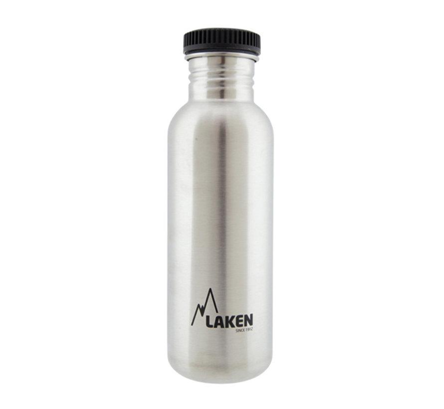 RVS fles 0.75 L Basic Steel Bottle - Zwarte lekdichte schroefdop - Merk: Laken ( Spanje )