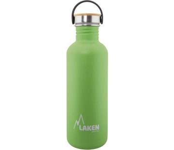 Laken RVS fles Basic Steel Bottle 1L ,Bamboo S/S Cap - Groen