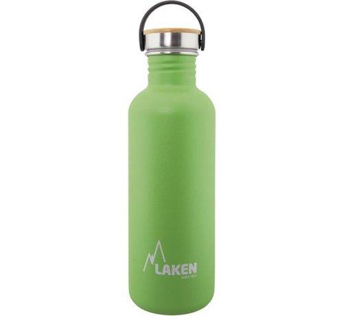 Laken RVS fles Basic Steel Bottle 1L ,Bamboo S/S Cap - Groen