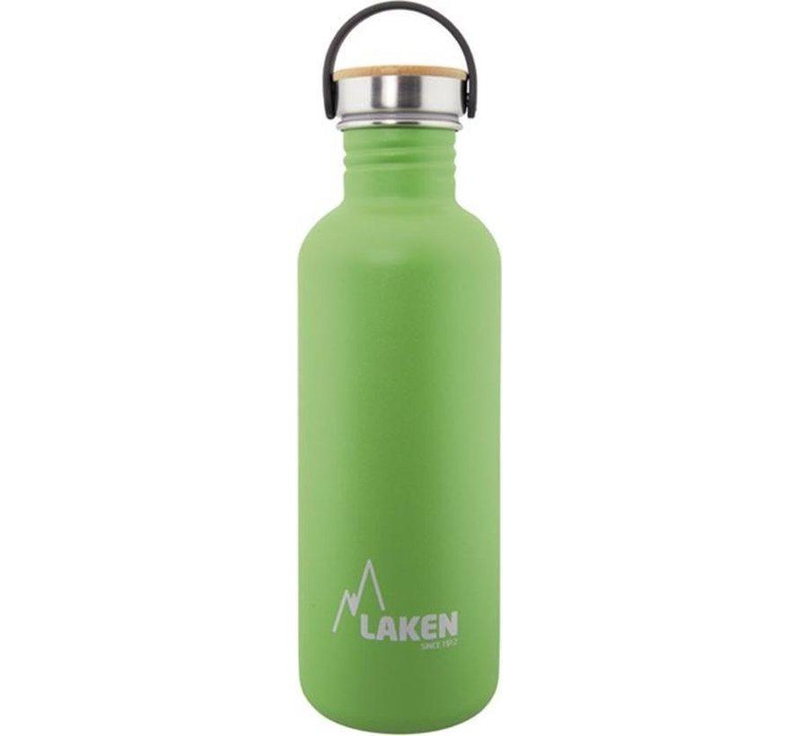 RVS fles Basic Steel Bottle 1L ,Bamboo S/S Cap - Groen