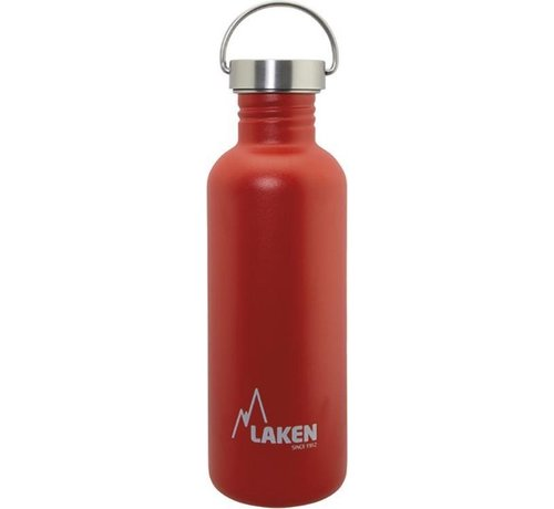 Laken RVS fles Basic Steel Bottle 1L ,Bamboo S/S Cap - Rood