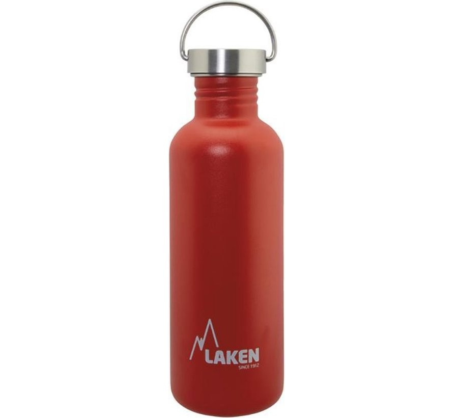 RVS fles Basic Steel Bottle 1L ,Bamboo S/S Cap - Rood