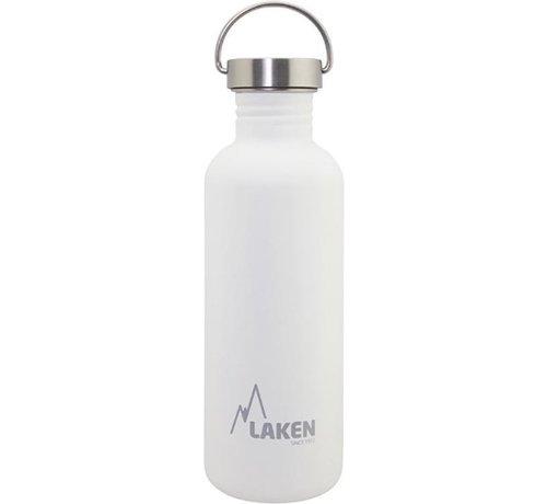 Laken RVS fles Basic Steel Bottle 1L ,Bamboo S/S Cap - Wit