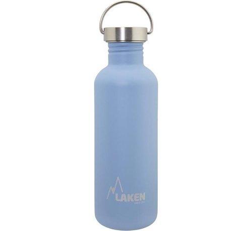 Laken RVS fles Basic Steel Bottle 1L, Bamboo S/S Cap - Blauw
