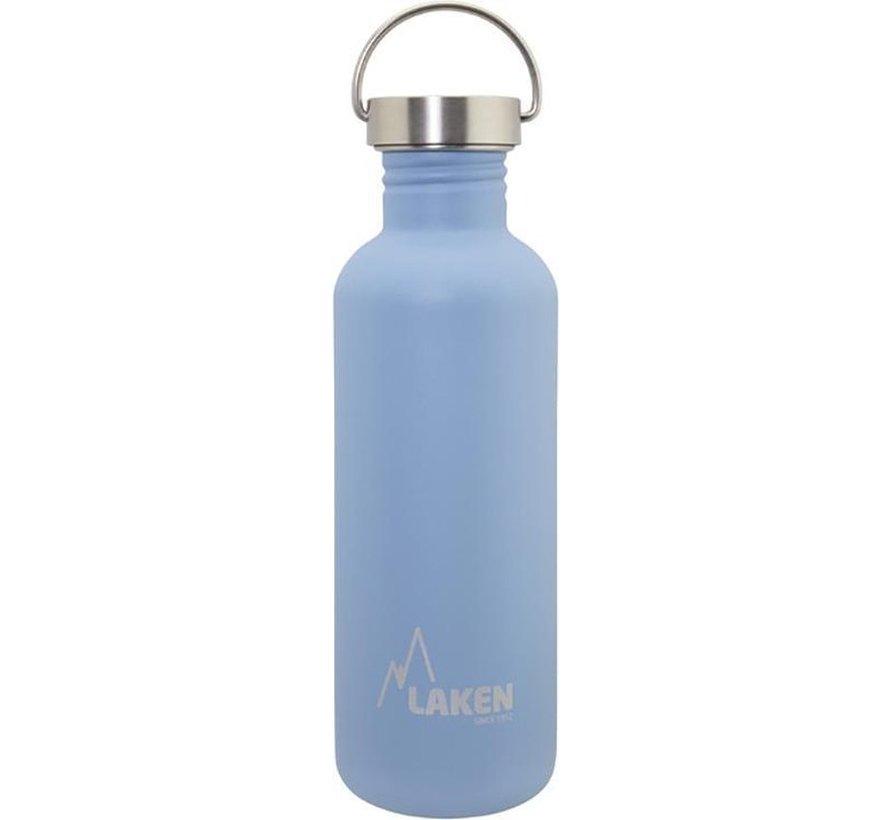 RVS fles Basic Steel Bottle 1L, Bamboo S/S Cap - Blauw