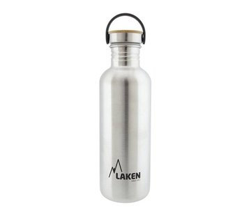 Laken RVS fles 1L Basic Steel Bottle - Bamboo screw cap, Laken