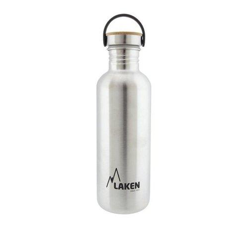 Laken RVS fles 1L Basic Steel Bottle - Bamboo screw cap, Laken