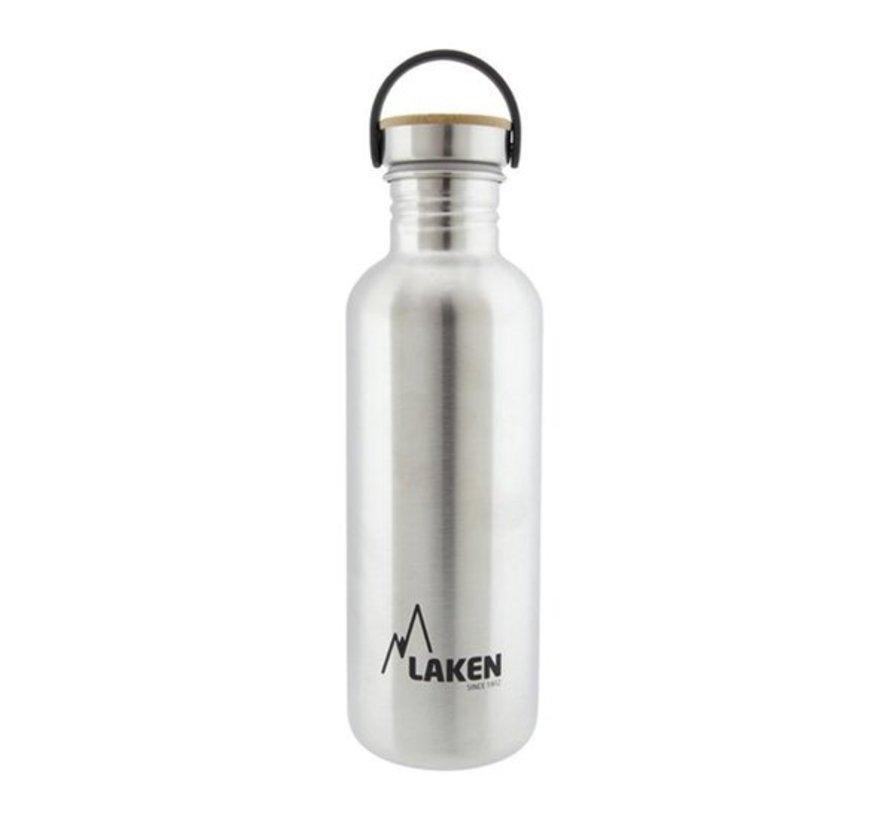RVS fles 1L Basic Steel Bottle - Bamboo screw cap, Laken