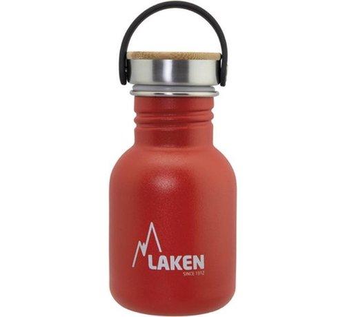 Laken  RVS fles Basic Steel Bottle 350ml ,Bamboo S/S Cap - Rood