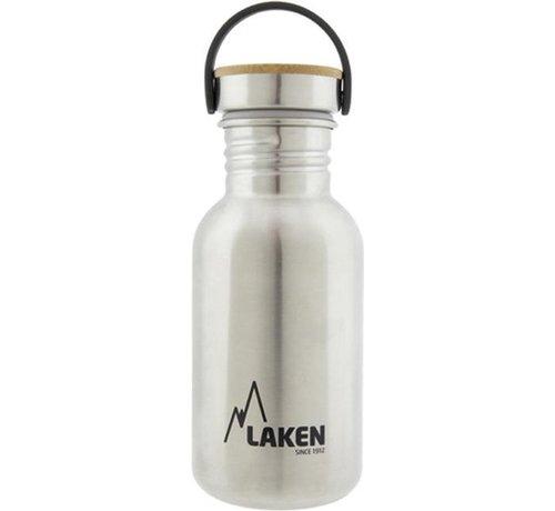Laken  RVS fles 500ml Basic Steel Bottle - Bamboo screw cap, Laken