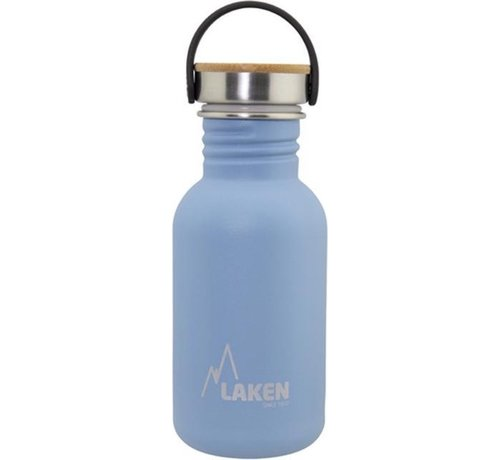 Laken  RVS fles Basic Steel Bottle 500ml ,Bamboo S/S Cap - Blauw