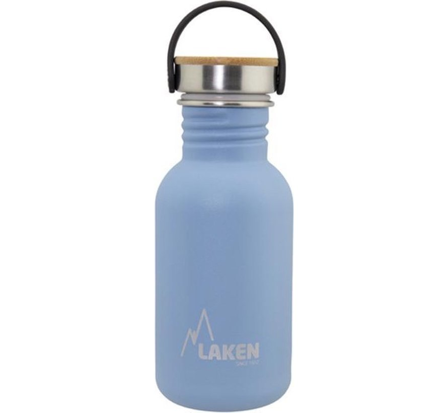 RVS fles Basic Steel Bottle 500ml ,Bamboo S/S Cap - Blauw