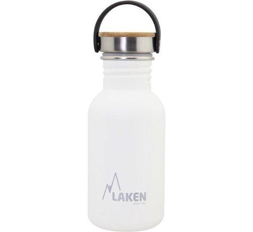 Laken RVS fles Basic Steel Bottle 500ml ,Bamboo S/S Cap - Wit
