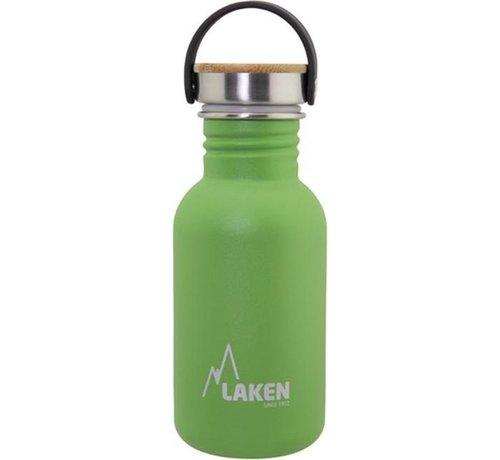 Laken RVS fles Basic Steel Bottle 500ml ,Bamboo S/S Cap - Groen