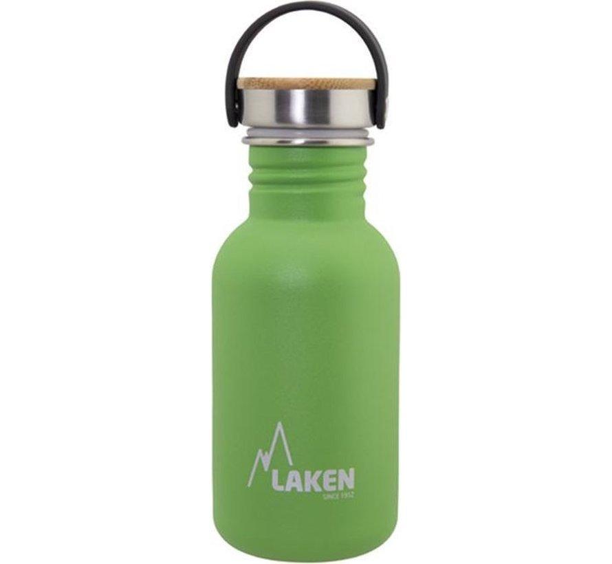 RVS fles Basic Steel Bottle 500ml ,Bamboo S/S Cap - Groen