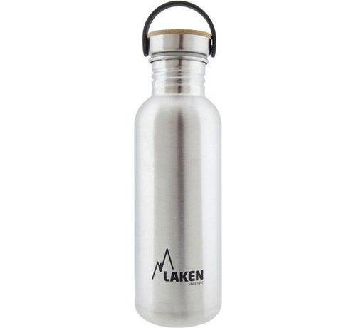 Laken RVS fles 750ml Basic Steel Bottle - Bamboo screw cap, Laken