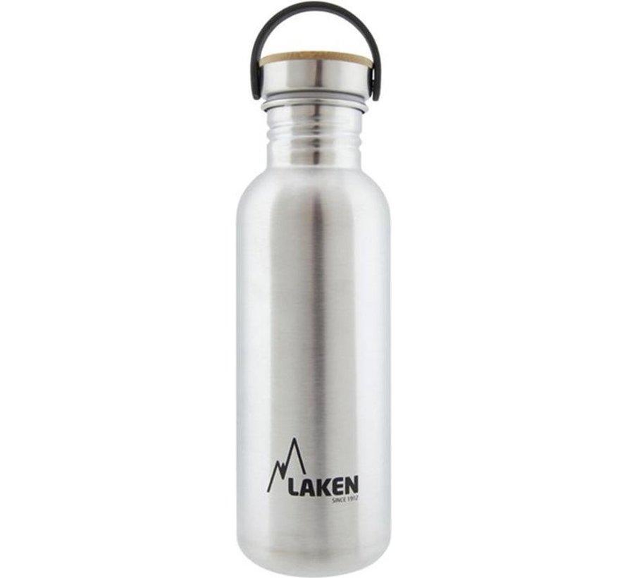 RVS fles 750ml Basic Steel Bottle - Bamboo screw cap, Laken