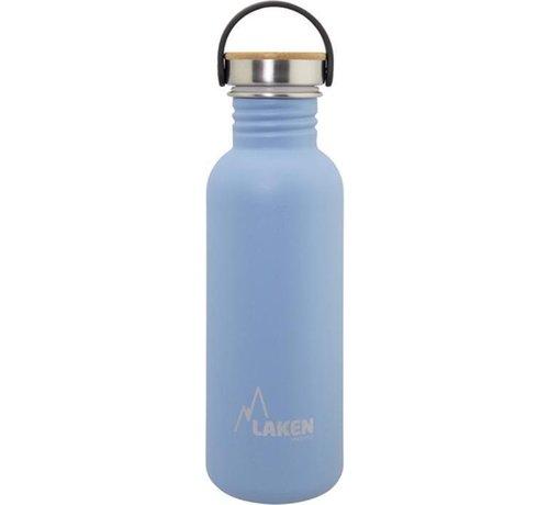 Laken RVS fles Basic Steel Bottle 750ml ,Bamboo S/S Cap - Blauw