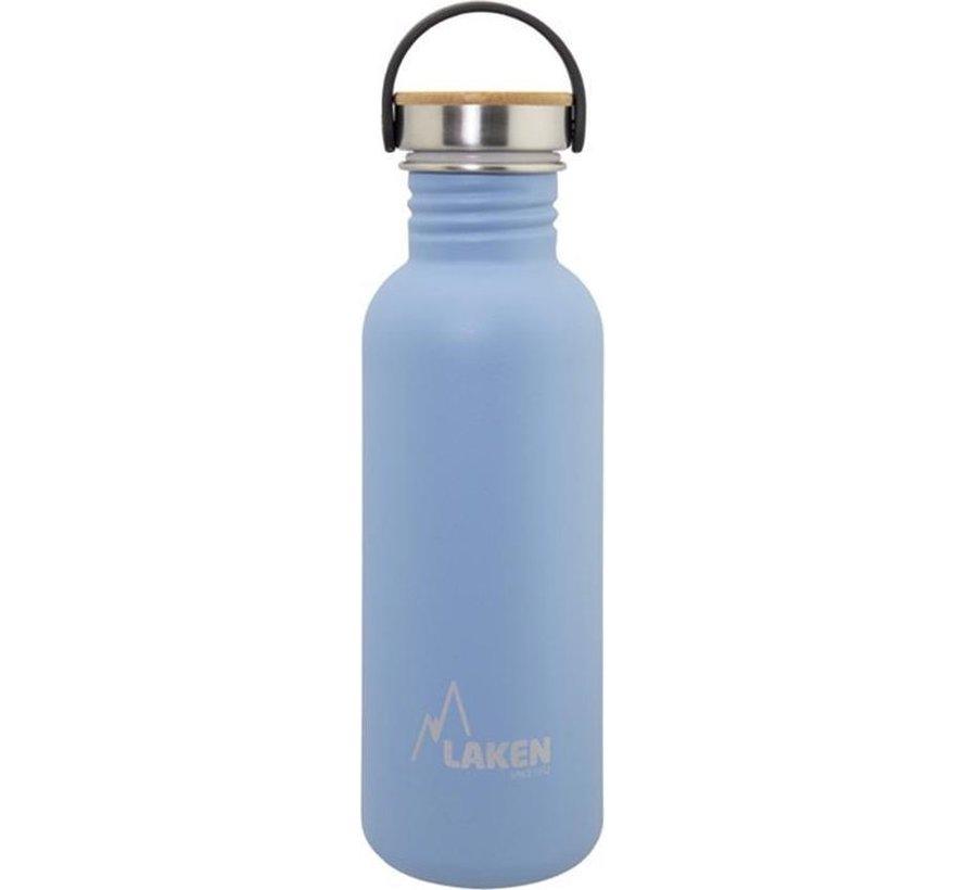 RVS fles Basic Steel Bottle 750ml ,Bamboo S/S Cap - Blauw