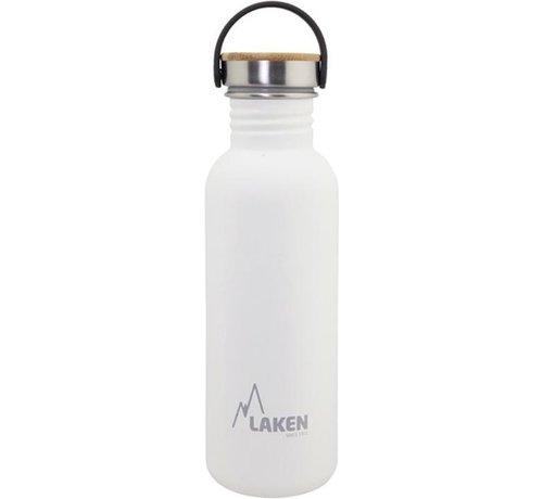 Laken RVS fles Basic Steel Bottle 750ml ,Bamboo S/S Cap - Wit