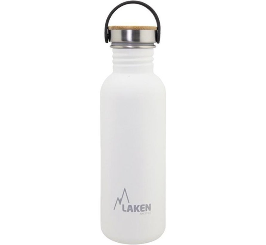 RVS fles Basic Steel Bottle 750ml ,Bamboo S/S Cap - Wit