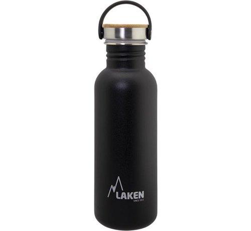 Laken RVS fles Basic Steel Bottle 750ml ,Bamboo S/S Cap - Zwart