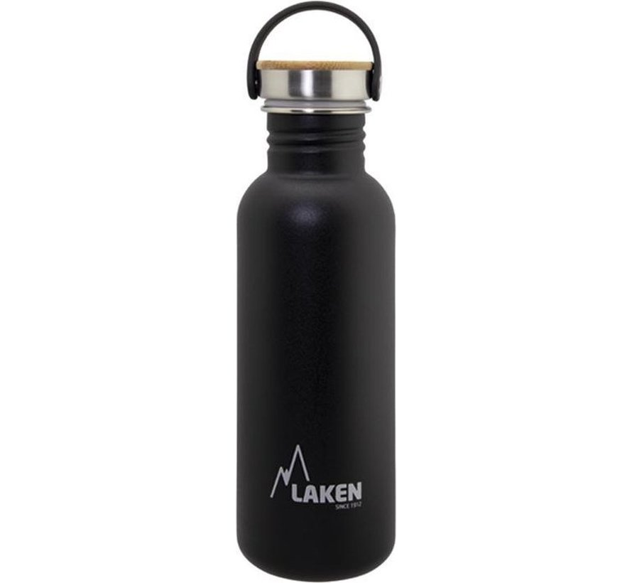 RVS fles Basic Steel Bottle 750ml ,Bamboo S/S Cap - Zwart