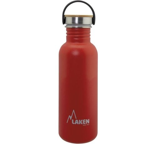 Laken RVS fles Basic Steel Bottle 750ml ,Bamboo S/S Cap - Rood