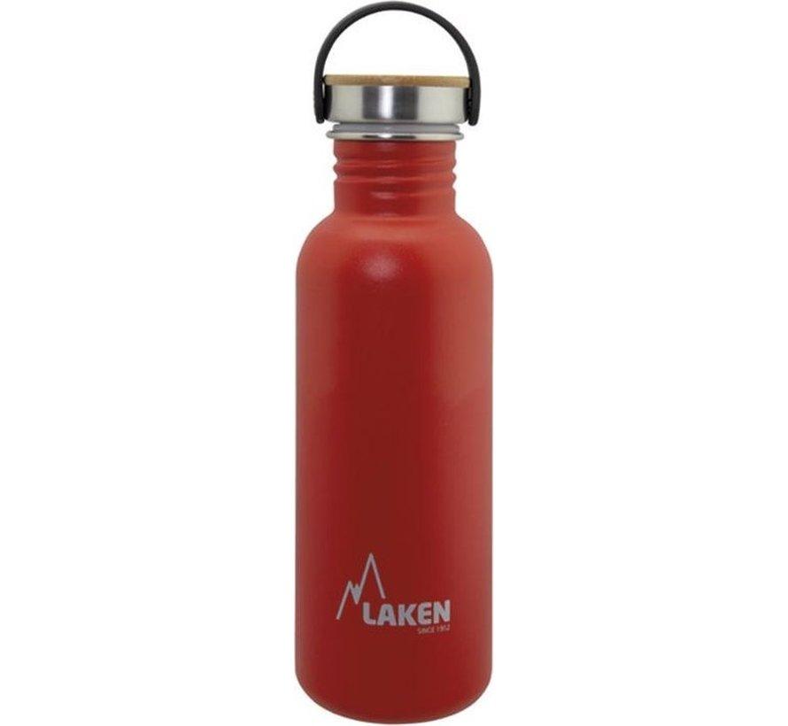 RVS fles Basic Steel Bottle 750ml ,Bamboo S/S Cap - Rood