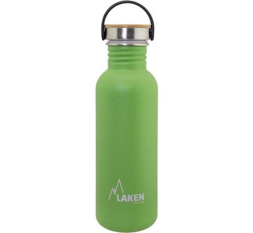 Laken RVS fles Basic Steel Bottle 750ml ,Bamboo S/S Cap - Groen