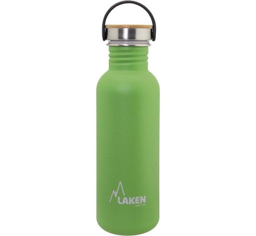 RVS fles Basic Steel Bottle 750ml ,Bamboo S/S Cap - Groen