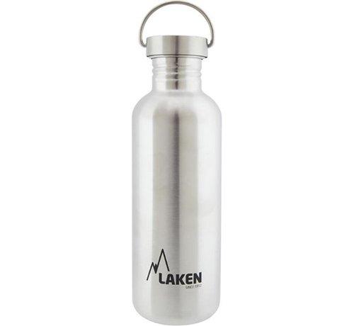 Laken RVS fles 1000ml Basic Steel Bottle - RVS dop, Laken