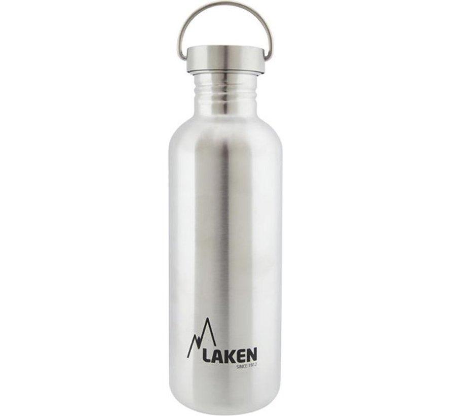 RVS fles 1000ml Basic Steel Bottle - RVS dop, Laken
